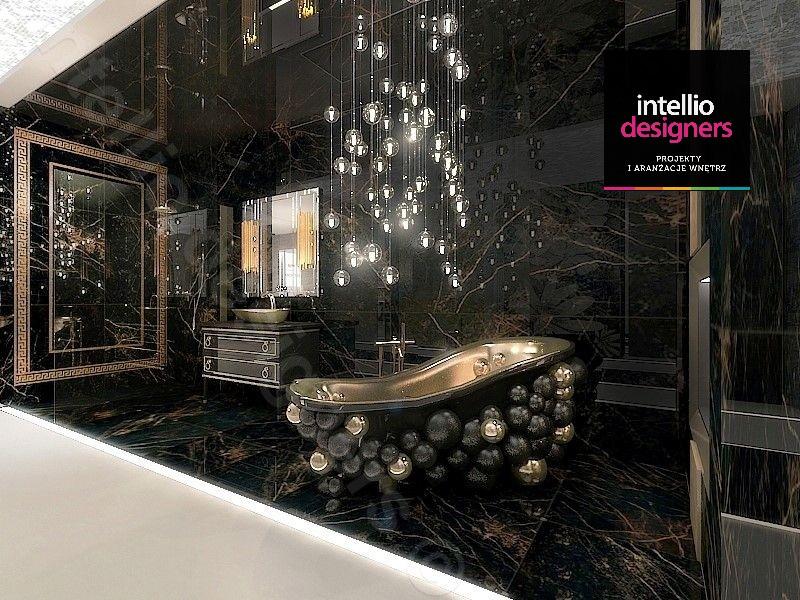 Najpiękniejsze łazienki Versace, baterie pozłacane z dodatkami kryształów Swarovski, wanna Maison Valentina - architektura wnętrz intellio