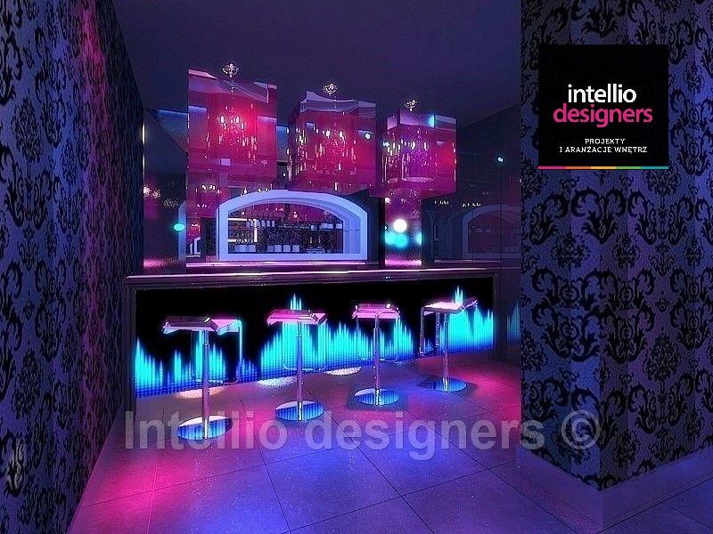 Projekt sali klubowej w klubie na ul. Szpitalnej, podświetlany bar interior design music club. Ultranowoczesny styl w Krakowie