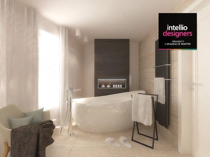 Ekskluzywne wnętrza, łazienki aranżacje. Wanna wolnostojąca, projekt Szwecja