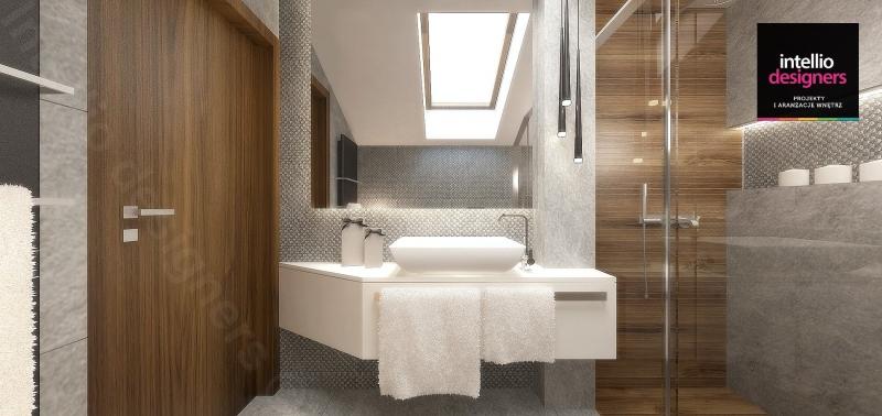 Piękna łazienka na poddaszu z umywalką nablatową i kabiną prysznicową duże lustro