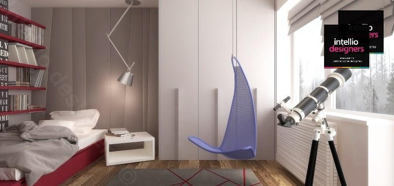 Pokój nastolatka - wiszący fotel, luneta astronomiczna miejsce do czytania książek - projekt wnętrza