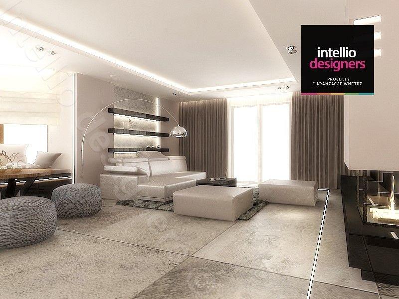 Duży salon - projekt wnętrza domu