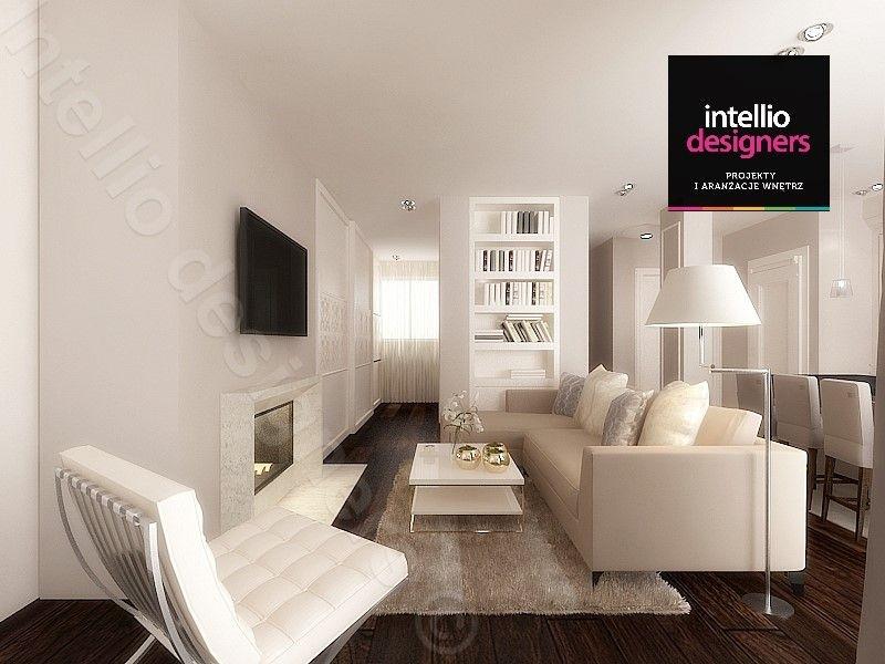 Stylowy i ekskluzywny livingroom z kominkiem projekt