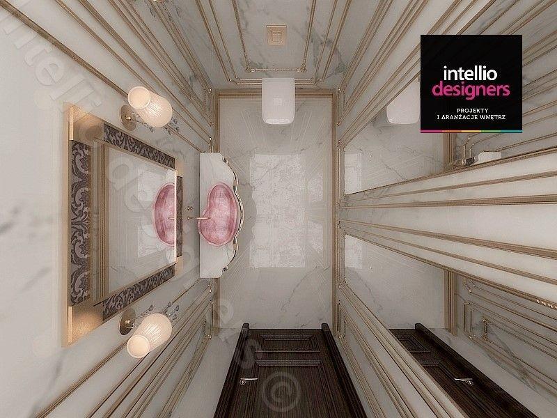 Złota sztukateria płytki, projektu łazienki - umywalka nablatowa