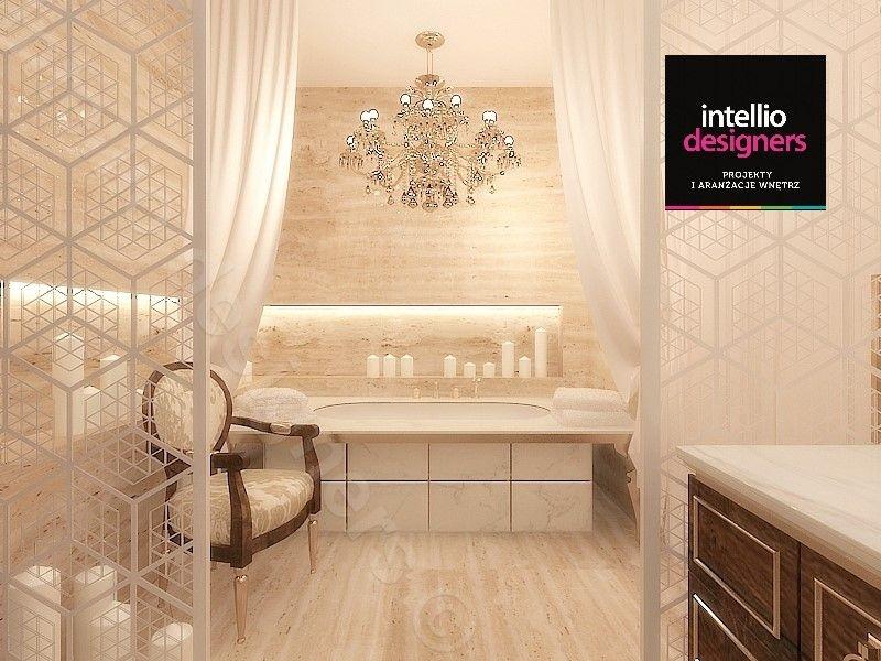 Łazienka dla królowej - jasne kolory, wanna zabudowana