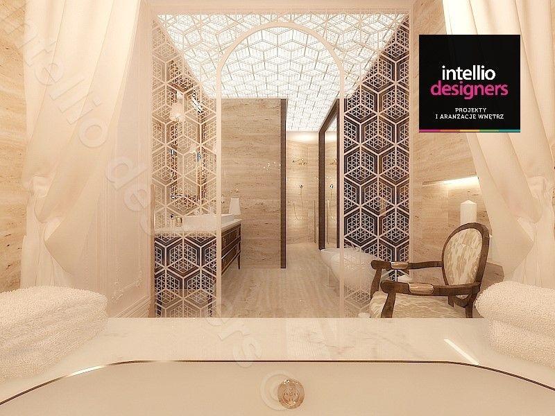 Abażur w łazience, podświetlany sufit z barrisolu