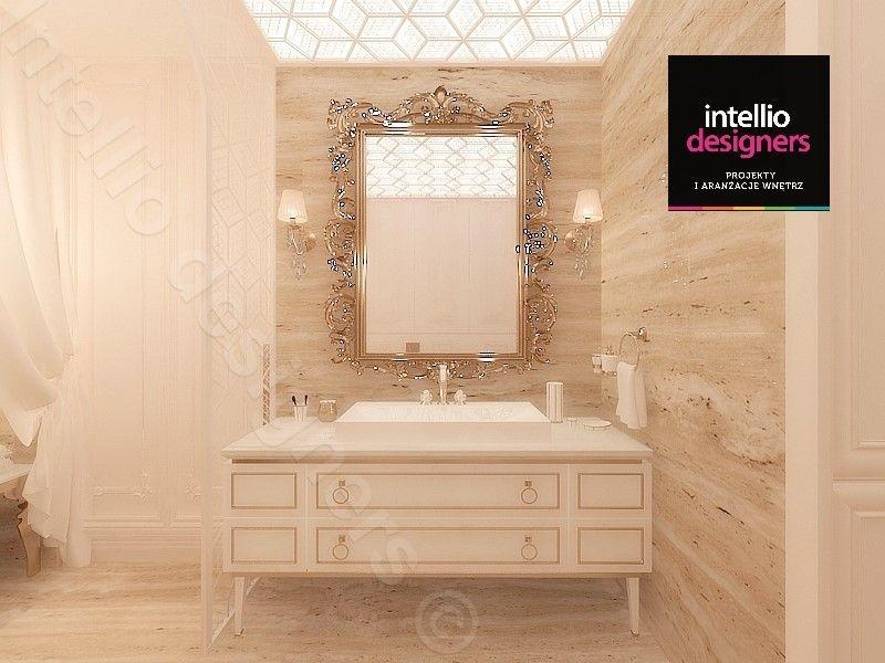 Jasne meble łazienkowe, ze stylizowanym lustrem