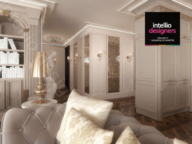 Apartament pałacowy - Hall w mieszkaniu, drewniana podłoga, złote kinkiety