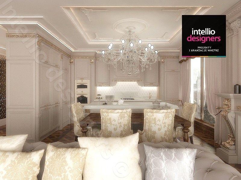 Projekty salonów - Sofa pikowana tapicerowana w salonie