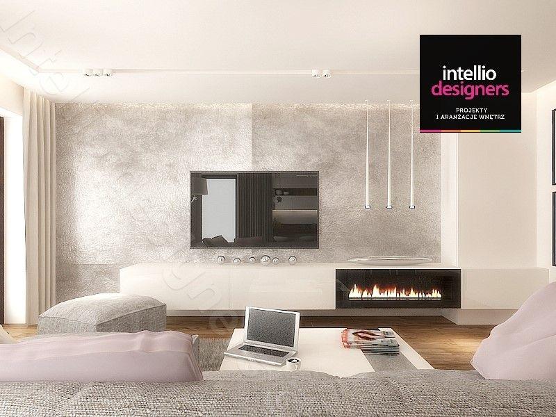 Salon z kominkiem w mieszkaniu - projekt wnętrz