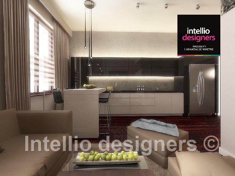 Nowoczesne mieszkanie salon z kuchnią czarne meble na wysoki połysk