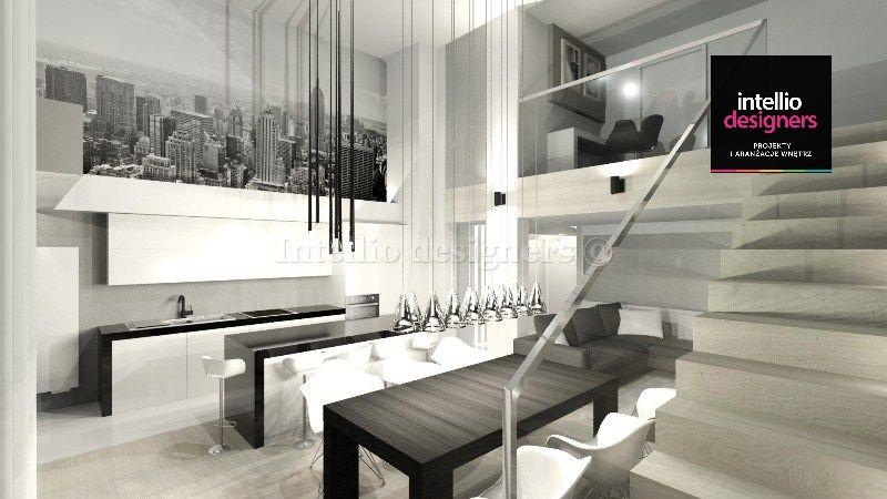 projekt wnętrza, mieszkanie dwupoziomowego beton chłodna kolorystyka nowoczesny design. Tapeta z miastem, krzesła hokery w kuchni
