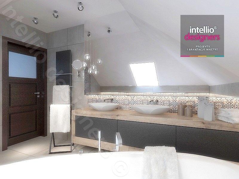 łazienka - Płytki patchworkowe, płytki hiszpańskie, wanna narożna, poolspa, jacuzzi, baterie hanshgrohe, baterie Steinberg, łazienka na poddaszu