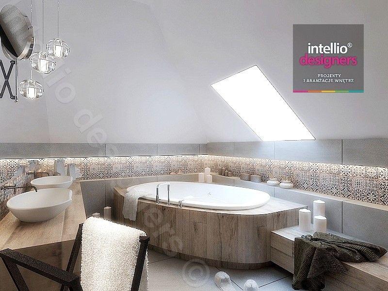 łazienki projekty - Płytki patchworkowe, płytki hiszpańskie, wanna narożna, poolspa, jacuzzi, baterie hanshgrohe, baterie Steinberg, łazienka na poddaszu
