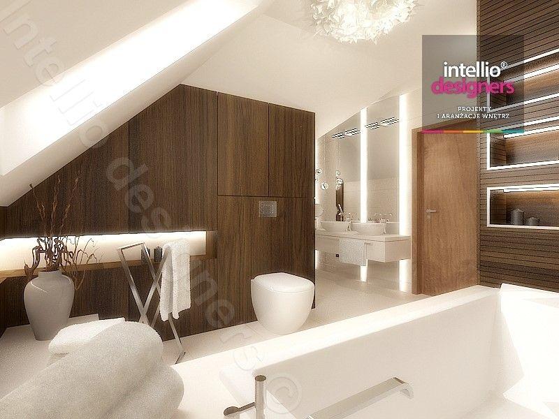 łazienki projektowanie poddasze -Podświetlenie wanny, Oświetlenie fabbian, łazienka ze skosami, płytki ecru, płytki MAXFLIZ