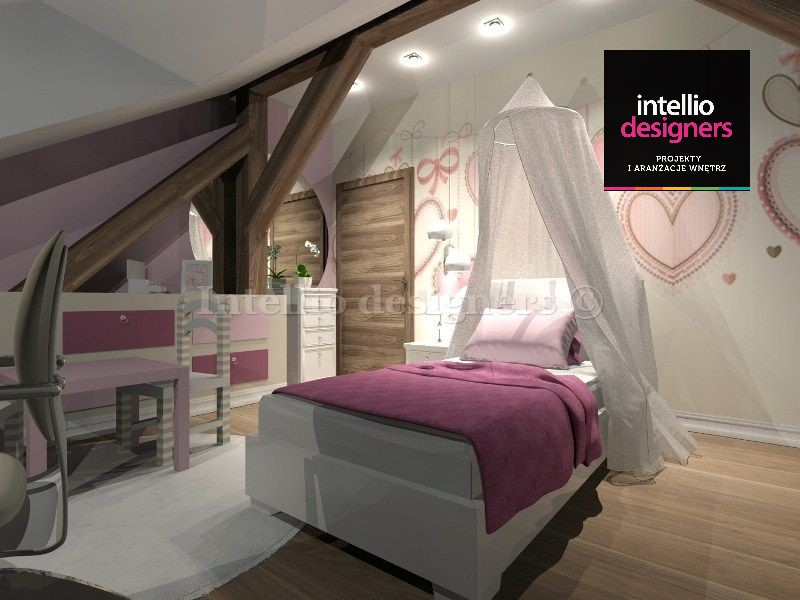 projekt wnętrz pokój dziecka baldachim łóżko szafki