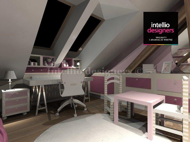 mieszkania projekty wnętrz, aranżacja pokoju dziewczynki biurko szafki stolik, pokoje wystrój wnętrz