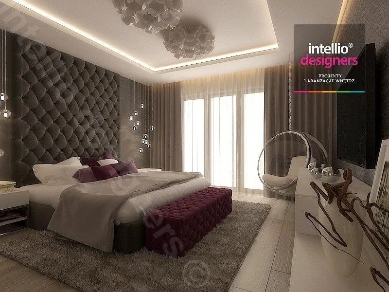 Sypialnia, łóżko tapicerowane, sufit podwieszany - aranżacje wnętrz