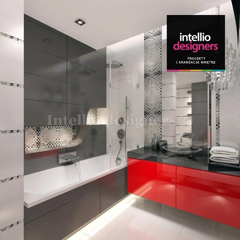 Kraków łazienka czerwona szafka wanna umywalka lustro projektowanie wnętrza