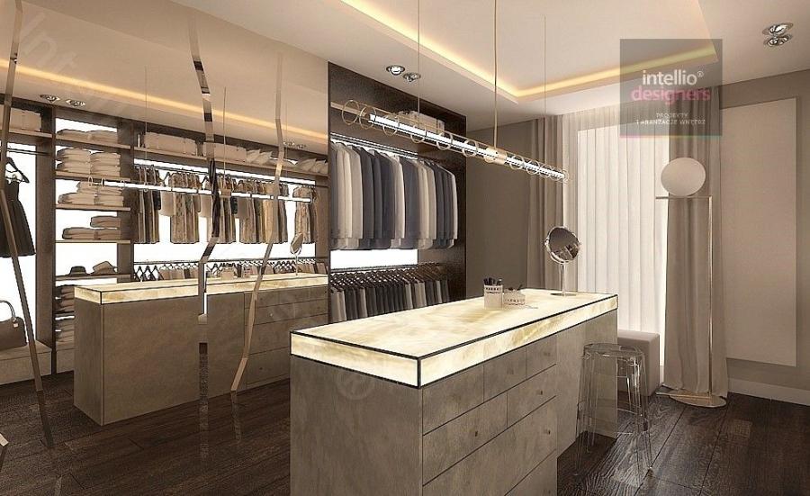 Garderoba glamour. Luksusowe rezydencje w Polsce - przestronne, klasyczne, stylowe wnętrza salonów, sypialni, pokoi gościnnych