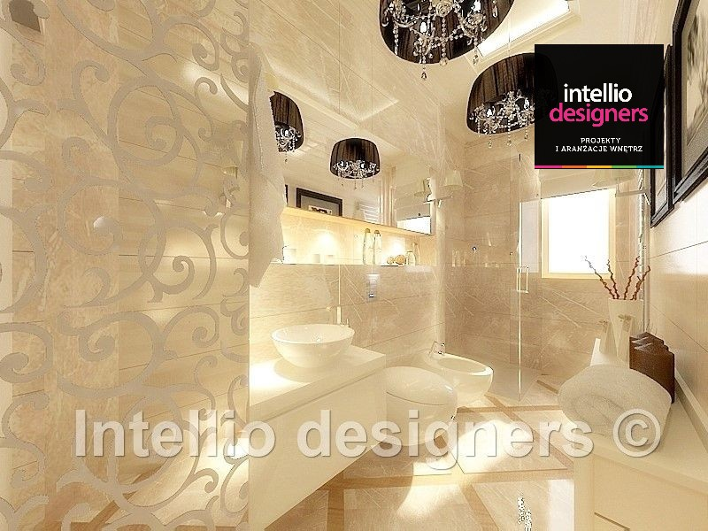 płytki marvel atlas concorde lampy wiszące z kryształkami aranżacja łazienki glamour. Przepiękna aranżacja łazienki.