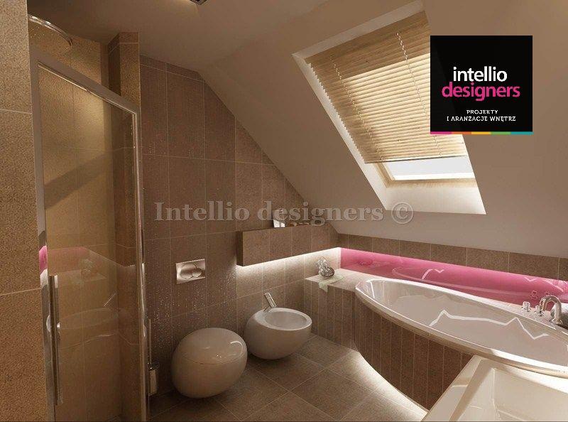 Projekt wnętrza łazienka wanna narożna prysznic toaleta bidet okno połaciowe. Wspaniałe wnętrza projektanci wnętrz.