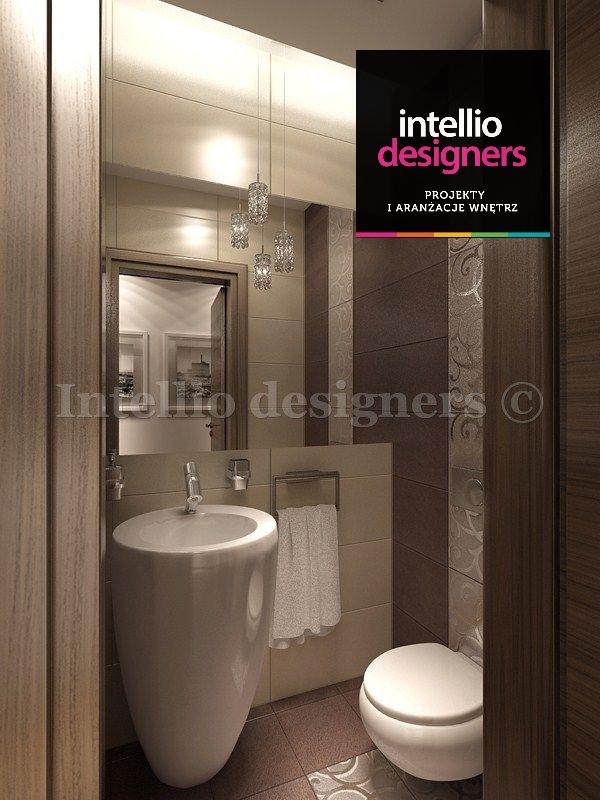 Łazienka toaleta umywalka lustro projekt wnętrza. Duże lusrto w łazience dla gości.