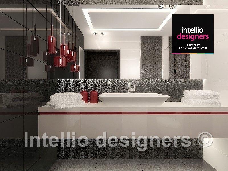 łazienka w stylu minimalistycznym czerwone świeczki i lampy