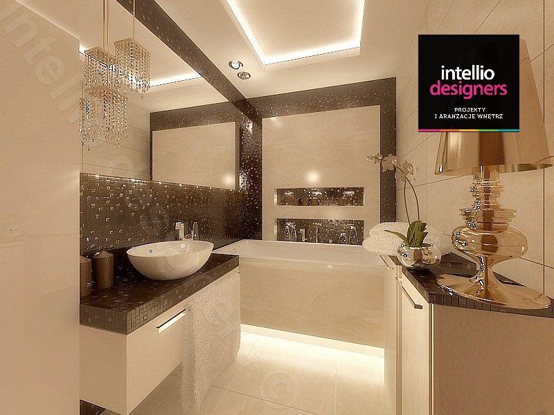 glamour łazienka stylowa złota lampa - luksusowa łazienka w rezydencji