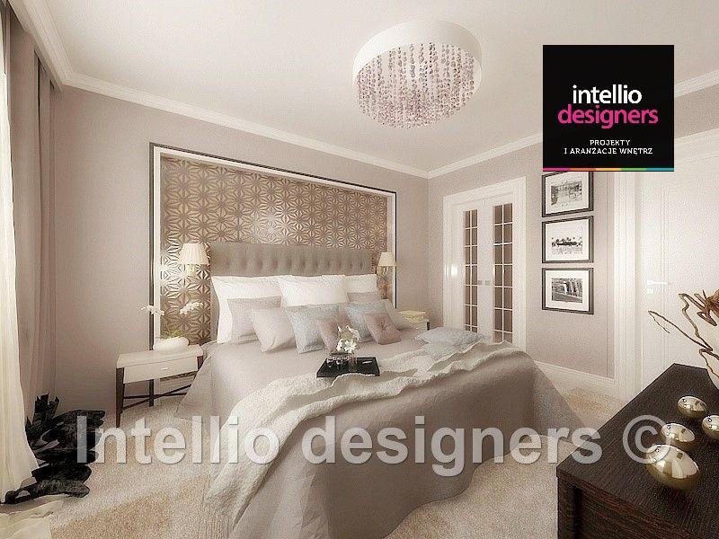 Projekt wnętrza rezydencji - Sypialnia glamour tapeta nad łóżkiem sypialnia w beżach - luksusowa sypialnia