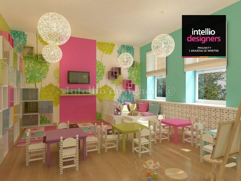 projekty wnętrz szkoła podstawowa sala dla dzieci świetlica w pastelowych kolorach. Kolorowe projekty wnętrz