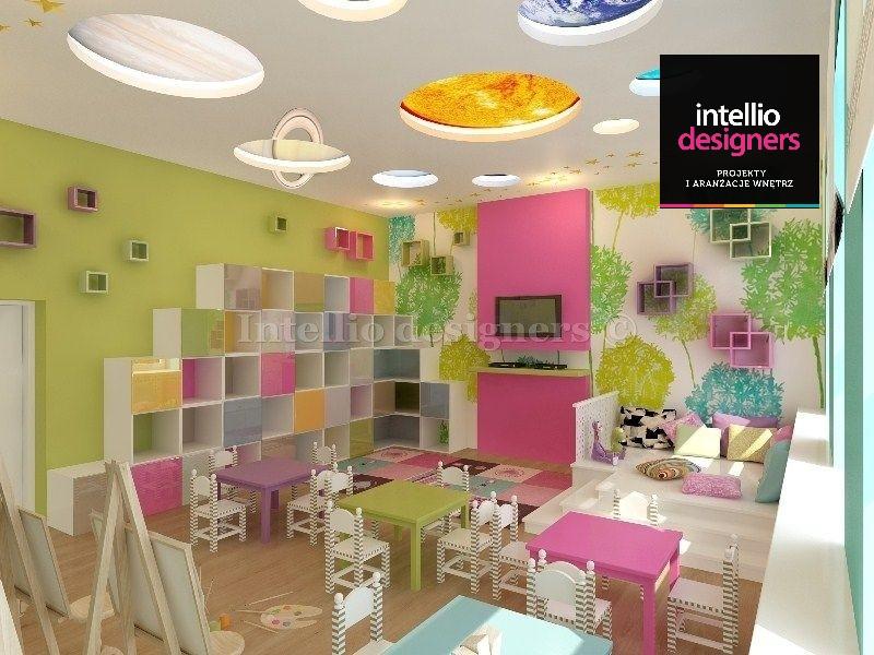 projekt wnetrza szkola świetlica dla dzieci sufit z planetami kolorowy