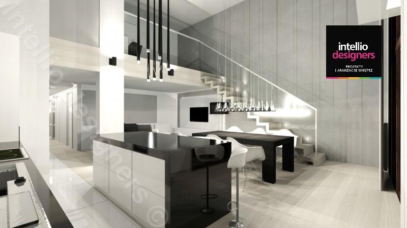 ekskluzywny dwupoziomowy apartament beton na ścianach schody
