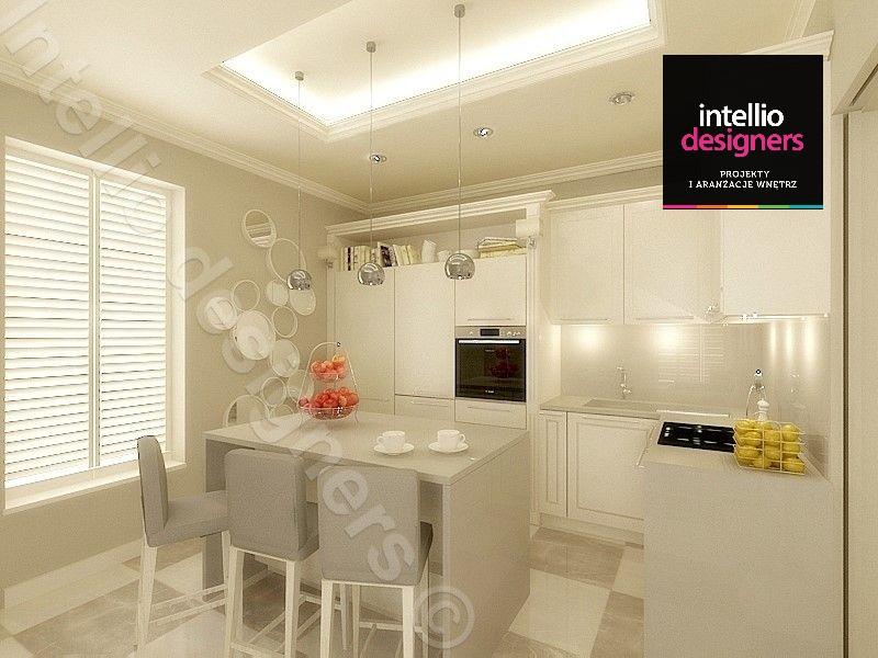 Projektowanie mieszkań i apartamentów, jasna kuchnia z wyspą