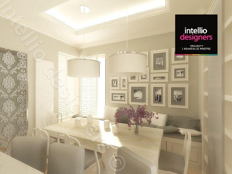 Projektowanie wnętrz jadalnia wystrój wnętrz jasne wnętrza biały sufit podwieszany - piękne kuchnie