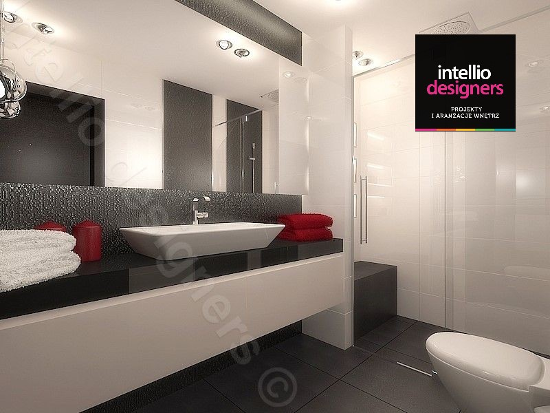 Projektowanie łazienek inspiracje w aranżacji nowoczesnej łazienki jasne płytki na ścianach ciemna podłoga