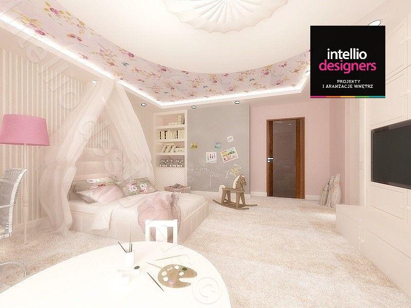 Piękne pokoje i salony - projekt koncepcyjny pokój dziecka różowy tapeta różowa lampa stojąca