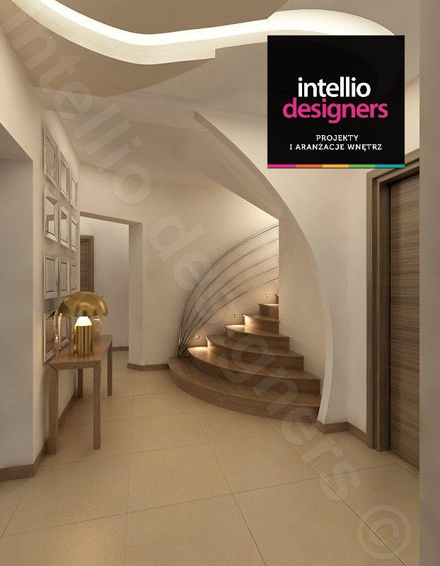 Projektowanie i aranzacje wnętrz domu klatka schodowa przedpokoj schody, projekty przedpokój Intellio designers