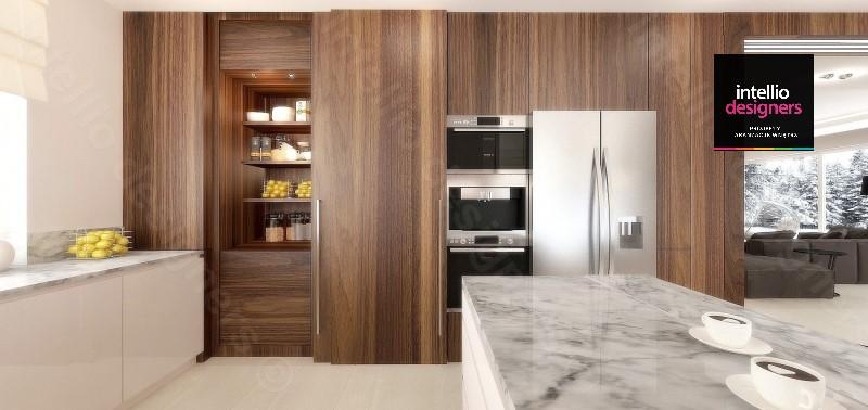 Kuchnia projekt i aranżacja. Piękne wnętrza domu, kuchnia w kolorze drewna