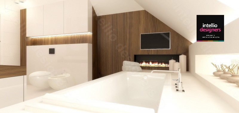 Pokój kąpielowy w rezydencji telewizor w łazience duża wanna. Ponadczasowa elegancka łazienka.