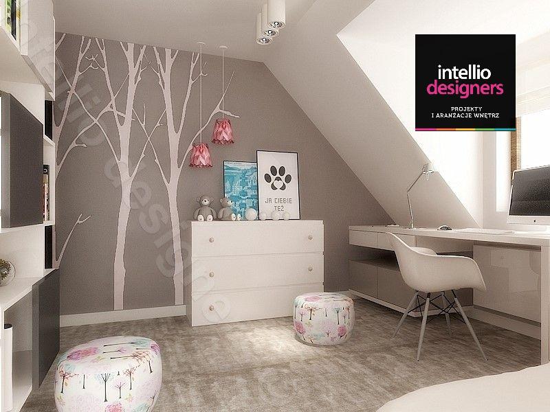 Pokój młodzieżowy projekt wnętrza domu z poddaszem, pokój ze skosami. Architektura pokoi, stylowy pokój dziecka