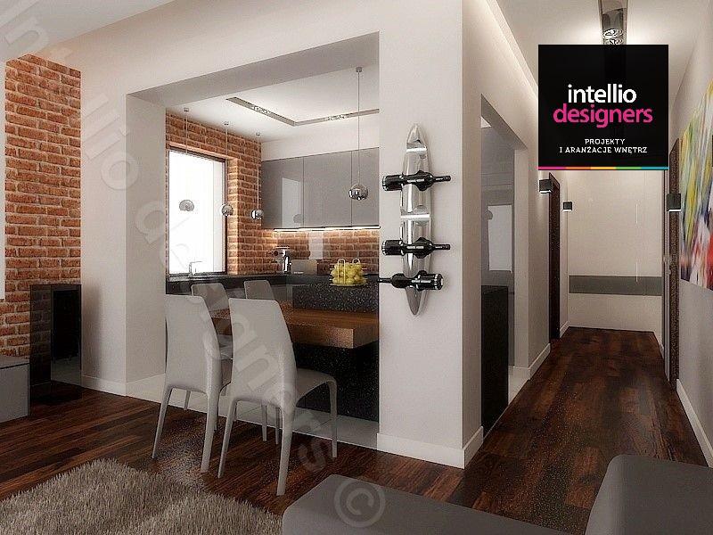 Salon z aneksem kuchennym - nowoczesne meble kuchenne na ścianie półka na wino