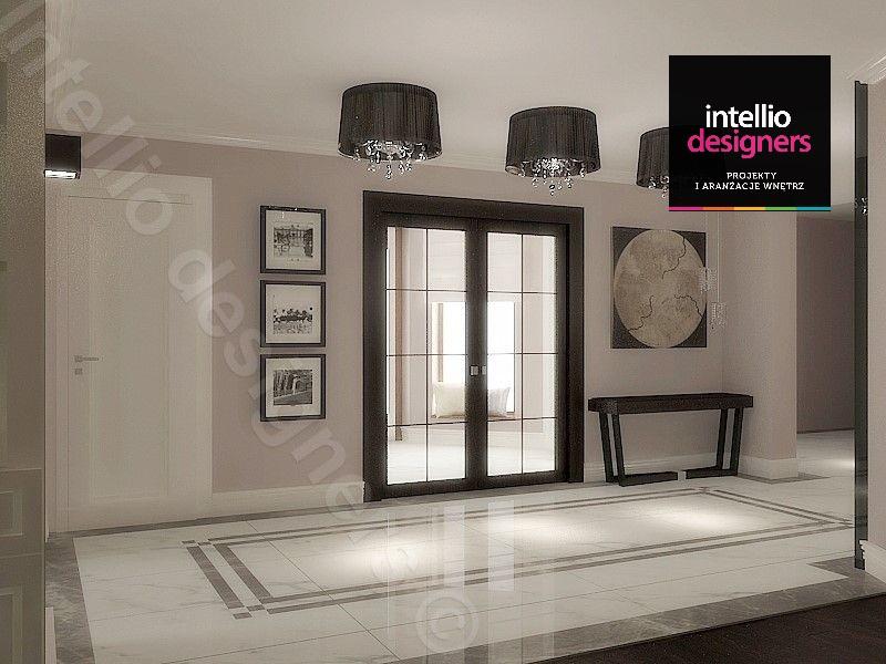 Przedpokój hal w luksusowej rezydencji projekt Intellio designers projektanci wnętrz
