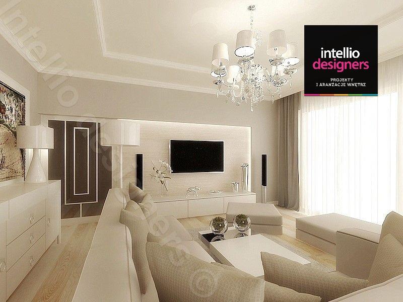 Architekt wnętrz intellio elegancki i prestiżowy salon jasna podłoga, białe meble wypoczynkowe