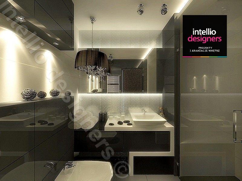 Dekoracja i projekt łazienki w ciemnych kolorach, lustra podświetlone światłem led architektura wnętrz intellio