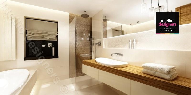 Jasna łazienka z wanną, blat wiszący z umywalką wpuszczaną w blat, płytki drewnopodobne
