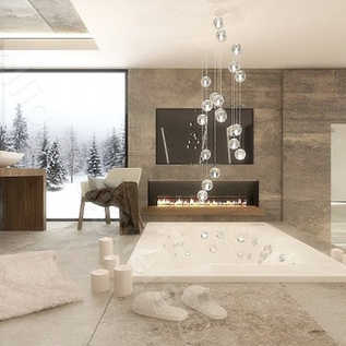 Wanna z jacuzzi z lodówką na szampana projekt wnętrz strefy Prestige Room. Kominek w łazience, podświetlana fototapeta.