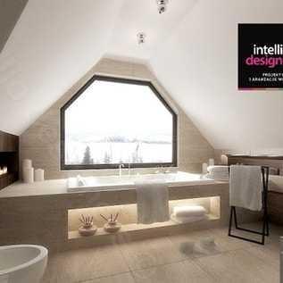 Piękny salon kąpielowy z dużym oknem, duża łazienka projekt