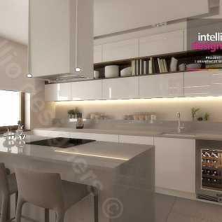 Apartament 120 m- Kuchnia, Meble mdf lakier połysk, blaty granitowe w kuchni, zlewozmywak podwieszany, lampy Vibia, stół calligaris, krzesła catellan Italia