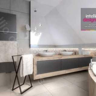 łazienki aranżacje - Płytki patchworkowe, płytki hiszpańskie, wanna narożna, poolspa, jacuzzi, baterie hanshgrohe, baterie Steinberg, łazienka na poddaszu